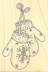 WINTER SNOW MITTENS Wood Mounted Rubber Stamp Impression Obsession F6169 NEW