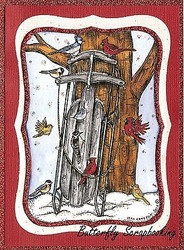 WINTER SNOW SLED TREE BIRDS Scene Wood Mounted Rubber Stamp NORTHWOODS P9867 New