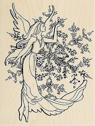 Winter Snowflake Crystal Angel Wood Mounted Rubber Stamp STAMPENDOUS R236 New