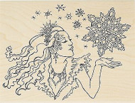 Winter Snowflake Snow Queen Wood Mounted Rubber Stamp STAMPENDOUS R237 New