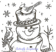Winter Snowman Cardinal Birds Wood Mounted Rubber Stamp NORTHWOODS MM8304 New