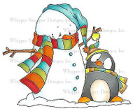 WINTER SNOWMAN PENGUIN Unmounted Rubber Stamp Whipper Snapper Designs LY938 NEW