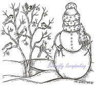 Winter Snowman Tree with Birds Wood Mounted Rubber Stamp NORTHWOODS M9302 New