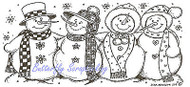Winter Snowman with Hats & Scarfs Wood Mounted Rubber Stamp NORTHWOODS O8238 New