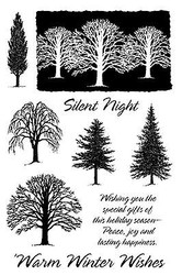 Winter Trees Silent Ni Unmounted Rubber Stamps Set Impression Obsession CL98 New