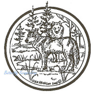 Wolf Circle, Wood Mounted Rubber Stamp NORTHWOODS - NEW, CC4647