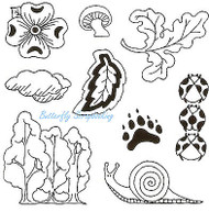 WOODLAND Background Images Clear Unmounted Rubber Stamps EARTH ART Sue Coccia