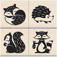 WOODLAND CRITTERS Wood Mounted Rubber Stamp Set Iinkadinkado 60-10145 NEW