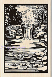 Woodland Stream Linoleum Wood Mounted Rubber Stamp by INKADINKADO 60-00971 NEW