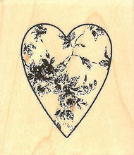 Worn Rose Heart, Wood Mounted Rubber Stamp IMPRESSION OBSESSION - NEW, B9582