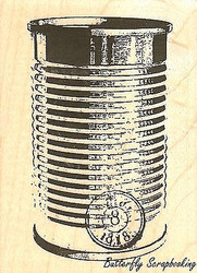 Worn Tin Can, Wood Mounted Rubber Stamp IMPRESSION OBSESSION - NEW, C9381