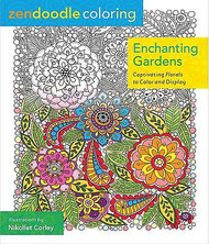 ZENDOODLE COLORING BOOK For Markers & Pencils Enchanting Gardens 60 Designs New