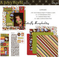 A BOYS WORLD 12X12 Scrapbooking Kit Paper Studio NEW