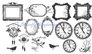 Acetate Shapes Birds Clocks Frames Scrapbooking 15 pc Die Cuts Kaisercraft NEW