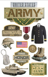 ARMY United States Military 3D Stickers Scrapbooking Paper House STDM-0214 NEW
