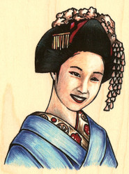 Asian Elegant Woman Wood Mounted Rubber Stamp Stampabilities New
