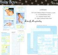 BABY BOY 12X12 Scrapbooking Kit Scrapbook Page Kit The Paper Studio 331553 NEW