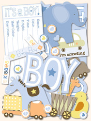 Baby Boy Scrapbook DIE CUTS 144 Pieces Itsy Bitsy Baby Boy K&Company NEW