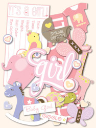 Baby Girl Scrapbook DIE CUTS 168 Pieces Itsy Bitsy Baby Girl K&Company NEW