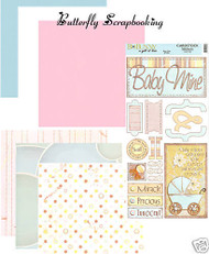 BABY OF MINE Collection 12x12 Scrapbooking Kit BoBunny Papers and Stickers