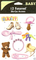 BABY Scrapbook 12 Die Cuts Accents Rember When New