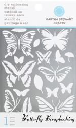 BUTTERFLIES Dry Embossing Stencil Martha Stewart NEW