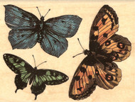 BUTTERFLIES Wood Mounted Rubber Stamp Stampabilities New