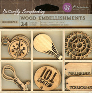 Cartographer, Wood Embellishments PRIMA MARKETING INC. 24 Pieces - 572891