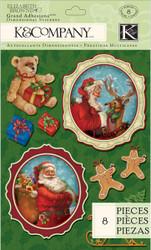 CHRISTMAS Visions Of Christmas Santa 3D Scrapbook Stickers K&Company NEW
