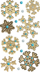 Christmas Wooden Snowflakes 3D Stickers Jolee's Boutique EK Success New