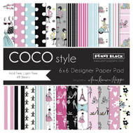 Coco Style, 6''x6'' Designer Paper Pad (48 Sheets) PENNY BLACK - NEW, 80-010