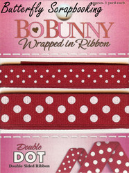 Cranberry Double Dot Ribbon BOBUNNY Scrapbooking Embellishments, NEW - WRCR119