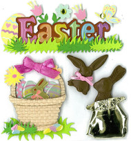 Easter Eggs & Chocolate Bunnies 3D Stickers Jolee's Boutique EK Success New