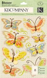 Edamame Butterflies 3D Scrapbook Stickers K&Company Grand Adhesions NEW