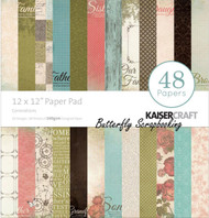 FAMILY GENERATIONS 12x12 Scrapbooking Paper Pad 48 Sheets Kaisercraft PP227 NEW