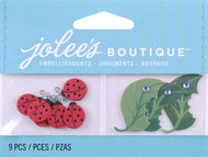 Lady Bugs And Leaves EK SUCCESS Non-Adhesive Embellishments NEW 9 Pieces