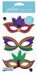 Mardi Gras Masks EK SUCCESS Jolee's Boutique 3D Stickers NEW
