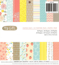 My Girl Collection Scrapbooking 6x6 Paper Pad American Crafts New