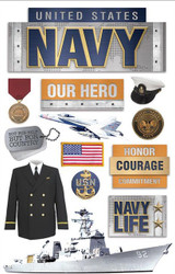 NAVY United States Military 3D Stickers Scrapbooking Paper House STDM-0215 NEW