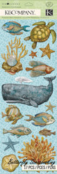 Ocean Life Travel Tim Coffey Scrapbook Stickers K&Company Chipboard NEW