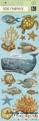 Ocean Life Travel Tim Coffey Scrapbook Stickers K&Company Chipboard NEW