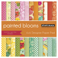 Painted Blooms, 6''x6'' Designer Paper Pad (48 Sheets) PENNY BLACK - NEW, 80-009