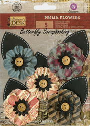 Prima Flowers 5 Flowers Stationer's Desk Collection Scrapbooking Prima Inc.NEW