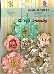 Prima Flowers 6 Flowers Bloom Collection Scrapbooking Prima Inc. 575137 NEW