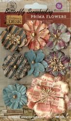 Prima Flowers 8 Flowers Stationer's Desk Collection Scrapbooking Prima Inc.NEW