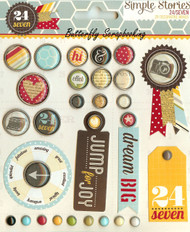Scrapbooking Brads 24/Seven Collection Simple Stories 28 pieces New