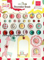 Scrapbooking Brads Sweet Girl Collection Echo Park Paper Co. 30 pieces New