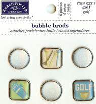 Scrapbooking Bubble Brads Golf Sports Karen Foster Design 6 pieces New