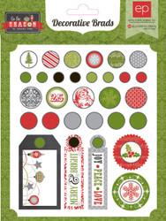 Scrapbooking CHRISTMAS Brads Tis Season Collection Echo Park Paper Co. 30 p New