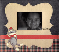 Sock Monkey Premade SCRAPBOOK Album 8x8 Paper Studio Ready Made add Photos NEW